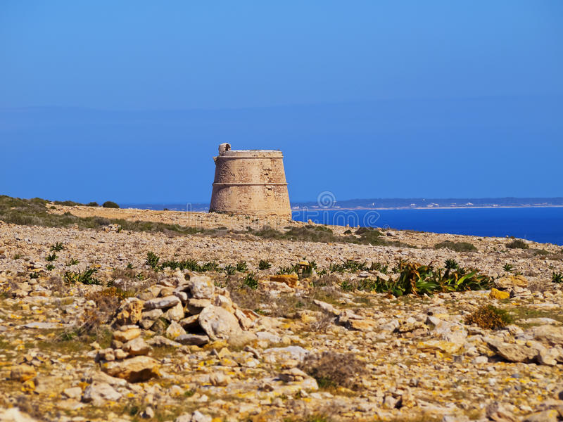 Torre des Garroveret, Formentera. Torre des Garroveret - one of the towers on Formentera, Balearic Islands, Spain royalty free stock photos