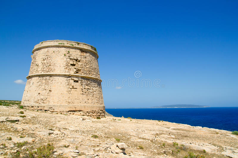 Torre des Garrovet in Babaria Cape Formentera. Torre des Garrovet tower in Babaria Cape Formentera balearic island stock photos