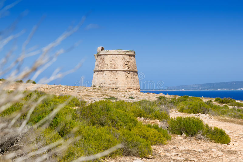 Torre des Garrovet in Babaria Cape Formentera. Torre des Garrovet tower in Babaria Cape Formentera balearic island stock photography