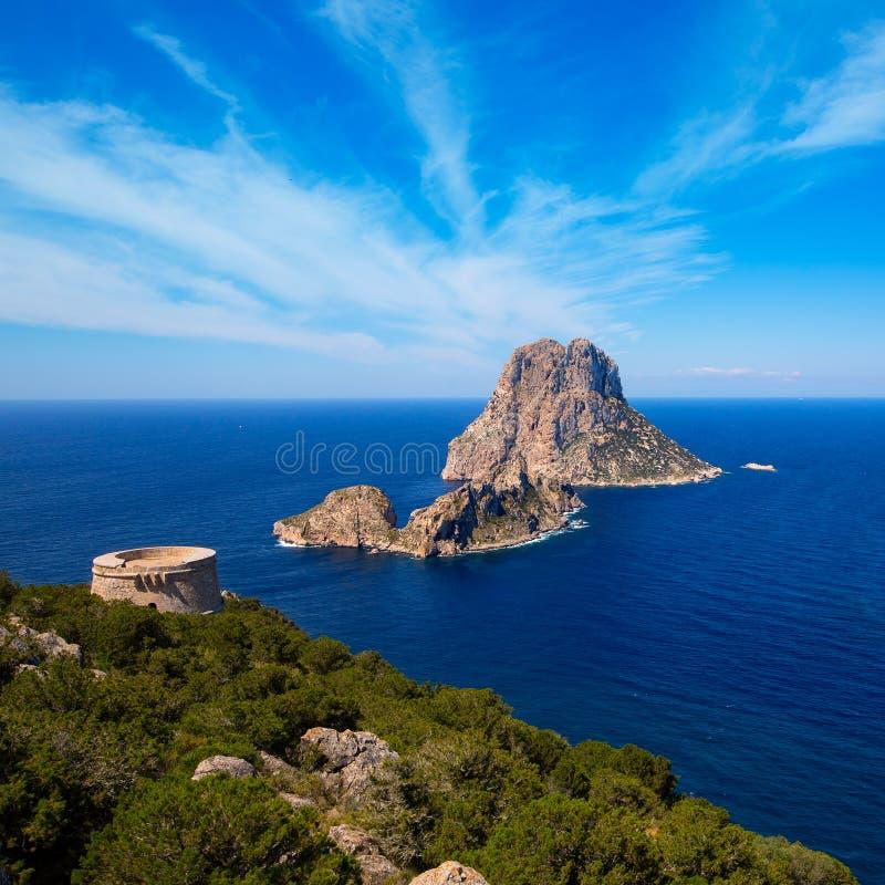 从Torre des Savinar塔的Ibiza ES韦德拉视图 库存照片