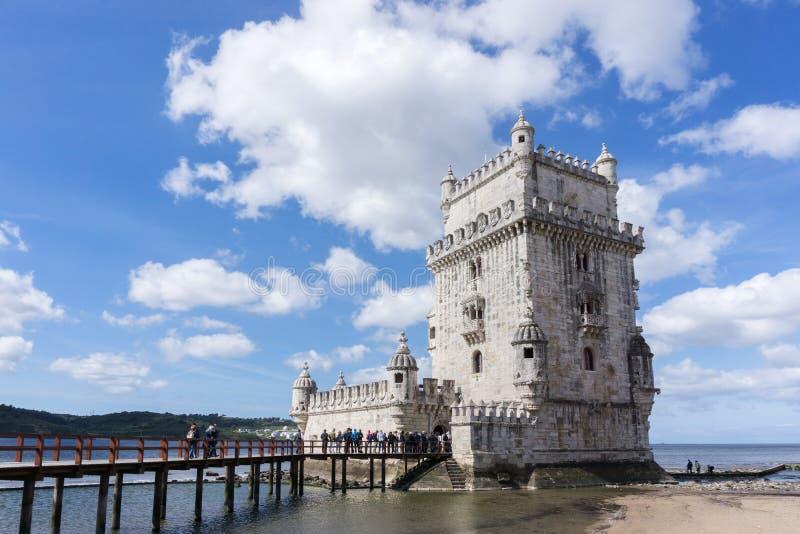 Torre di Belem, torre di Belem, Lisbona, Portogallo fotografie stock