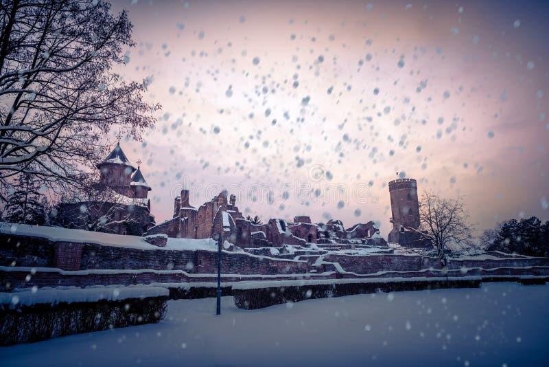 Torre di Chindia, Romania in un inverno molto freddo fotografia stock libera da diritti