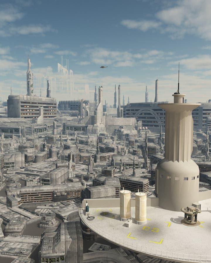 Torre di controllo ad uno spazioporto futuro della città royalty illustrazione gratis