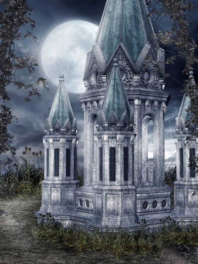 Torre di fantasia alla notte illustrazione di stock