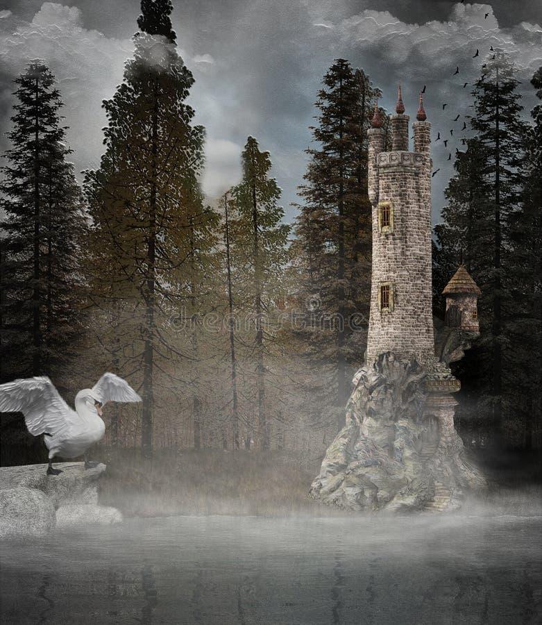 Torre di fantasia nella foresta nebbiosa fotografie stock libere da diritti