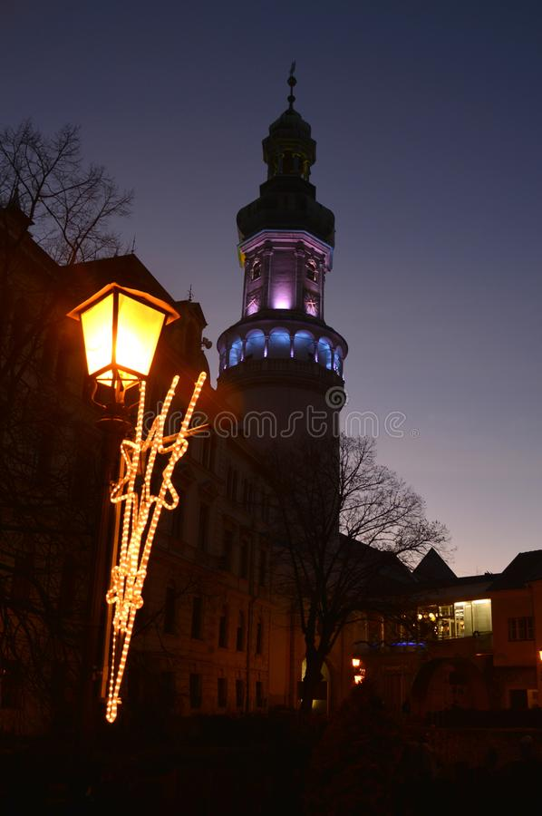 Torre di fuoco nella città di Sopron fotografia stock libera da diritti