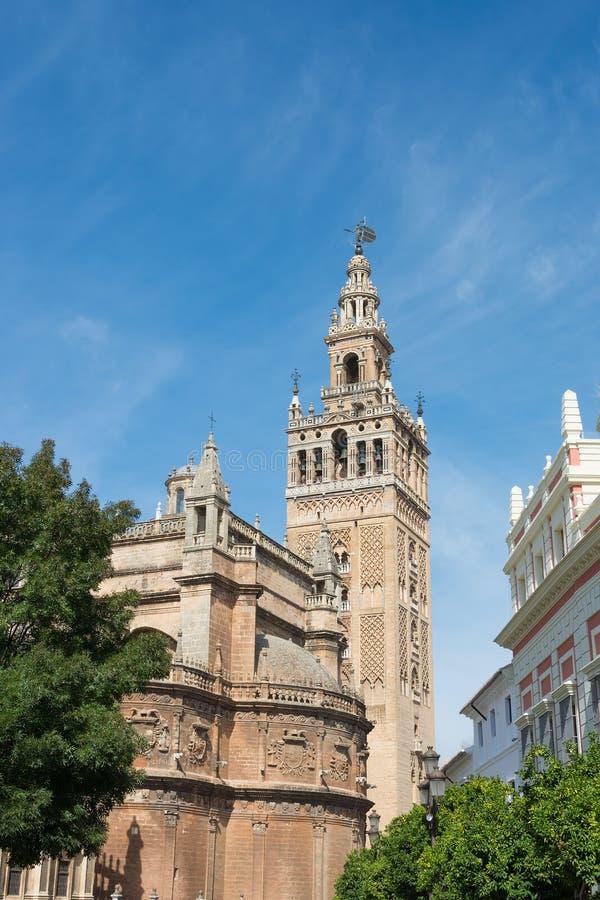 Torre di Giralda alla cattedrale di Siviglia fotografia stock libera da diritti