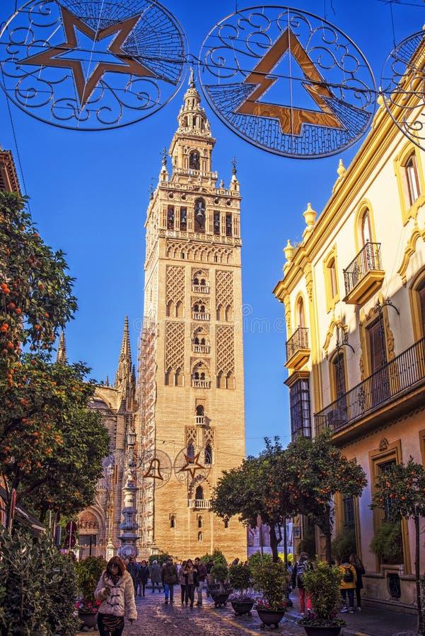 Torre di Giralda e di Sevilla Cathedral, Andalusia, Spagna fotografia stock