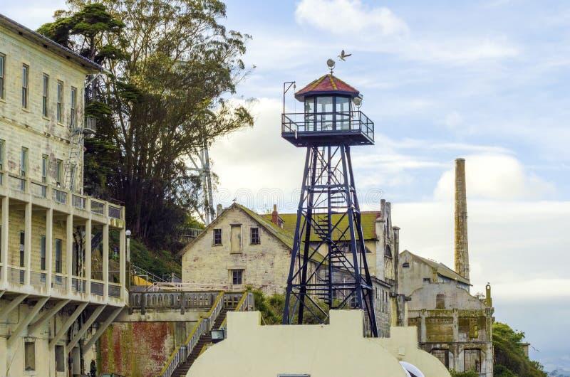 Torre di guardia di Alcatraz, San Francisco, California immagini stock libere da diritti