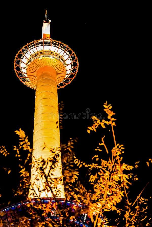 Torre di Kyoto di notte immagine stock libera da diritti