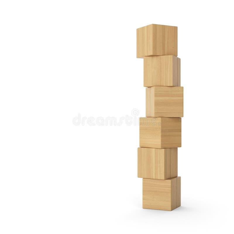 Torre di legno dei mattoni di Brown illustrazione di stock