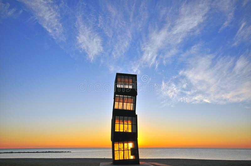 Torre di legno sulla spiaggia di Barceloneta fotografia stock libera da diritti