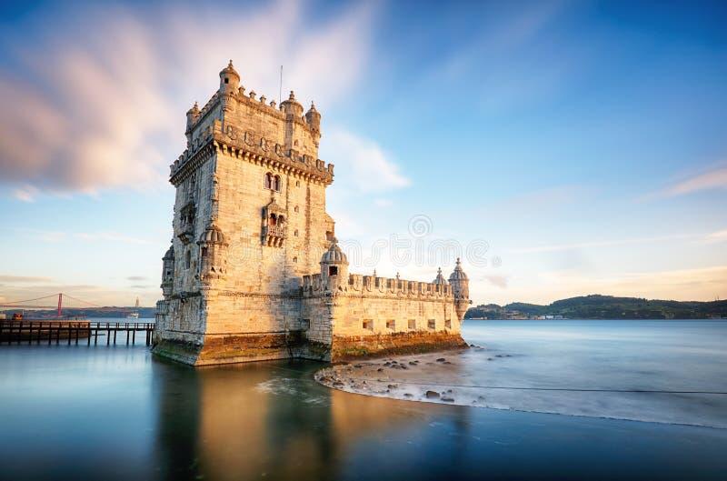 Torre di Lisbona, Belem - il Tago, Portogallo fotografia stock libera da diritti
