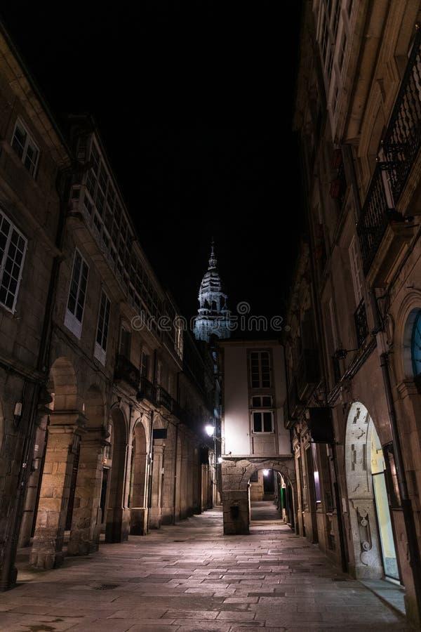 Torre di orologeria della cattedrale di San Giacomo a Santiago de Compostela fotografia stock libera da diritti