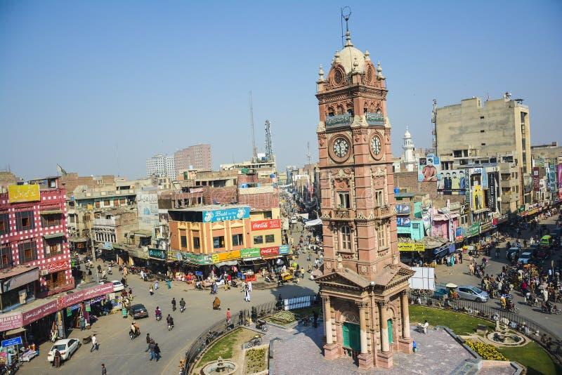 Torre di orologio di Faisalabad fotografia stock libera da diritti