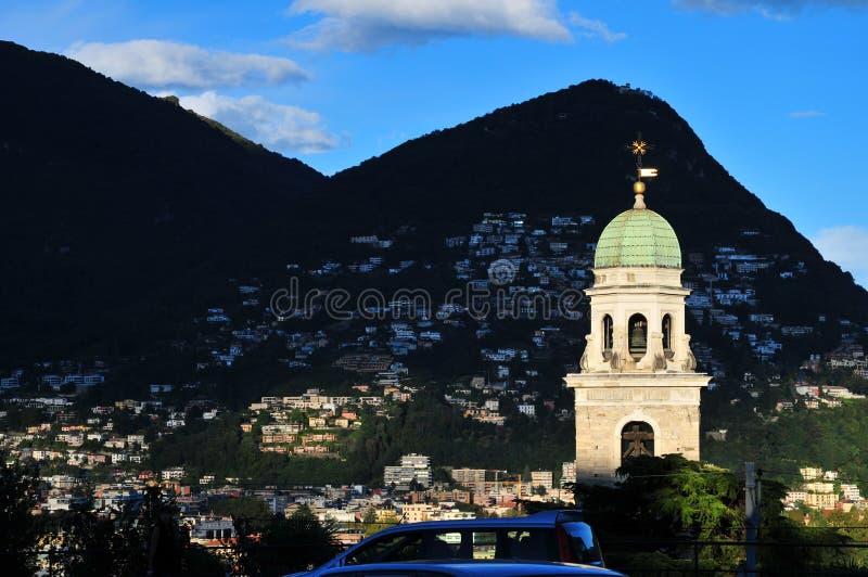 Torre di orologio di Lugano fotografia stock libera da diritti