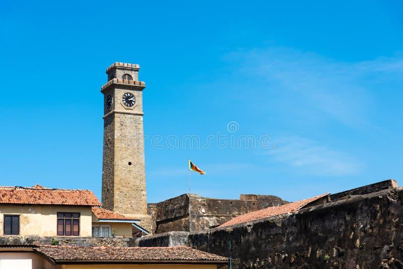 Torre di orologio forte di Galle nello Sri Lanka immagini stock libere da diritti