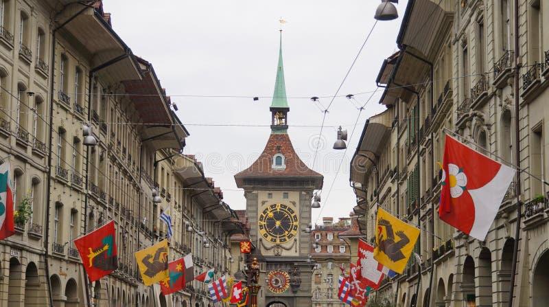 Torre di orologio, il portone occidentale della città, Berna, Svizzera fotografia stock