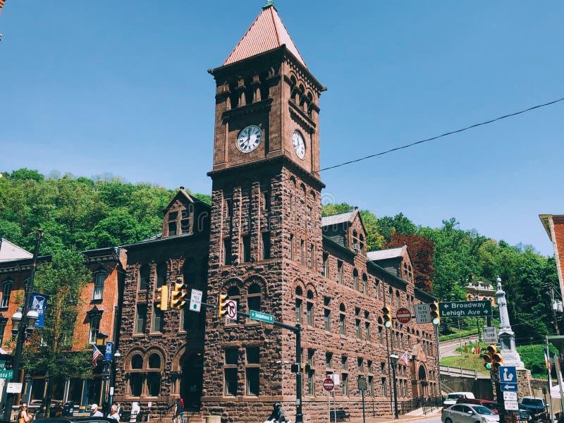 Torre di orologio in Jim Thorpe fotografie stock