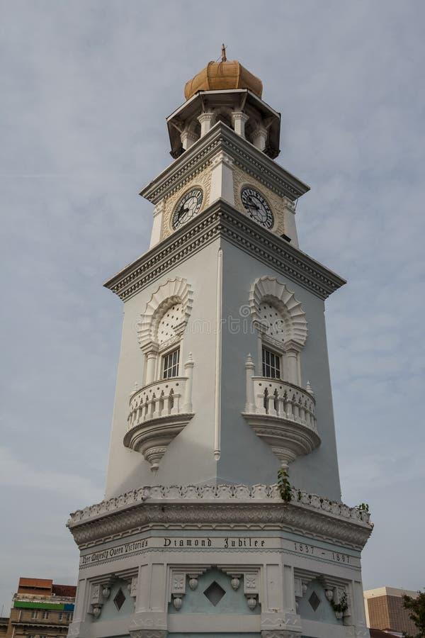 Torre di orologio nella vecchia città di George Town & di x28; Penang& x29; fotografia stock