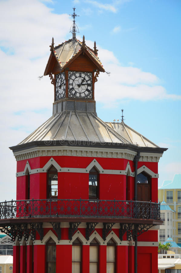 Torre di orologio rossa a Cape Town, Sudafrica fotografia stock