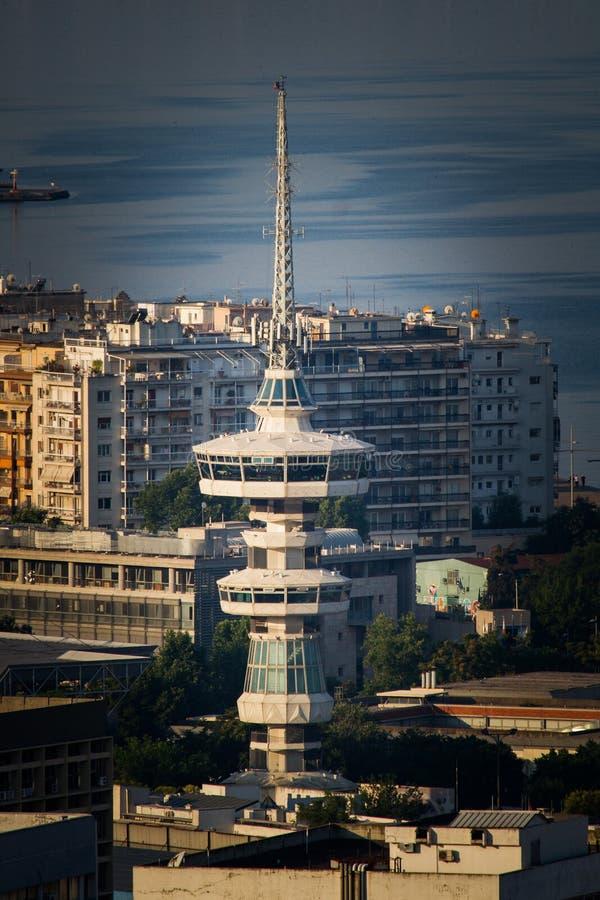 Torre di Ote, vista di occhi di uccelli aerea rara della città di Salonicco fotografia stock libera da diritti