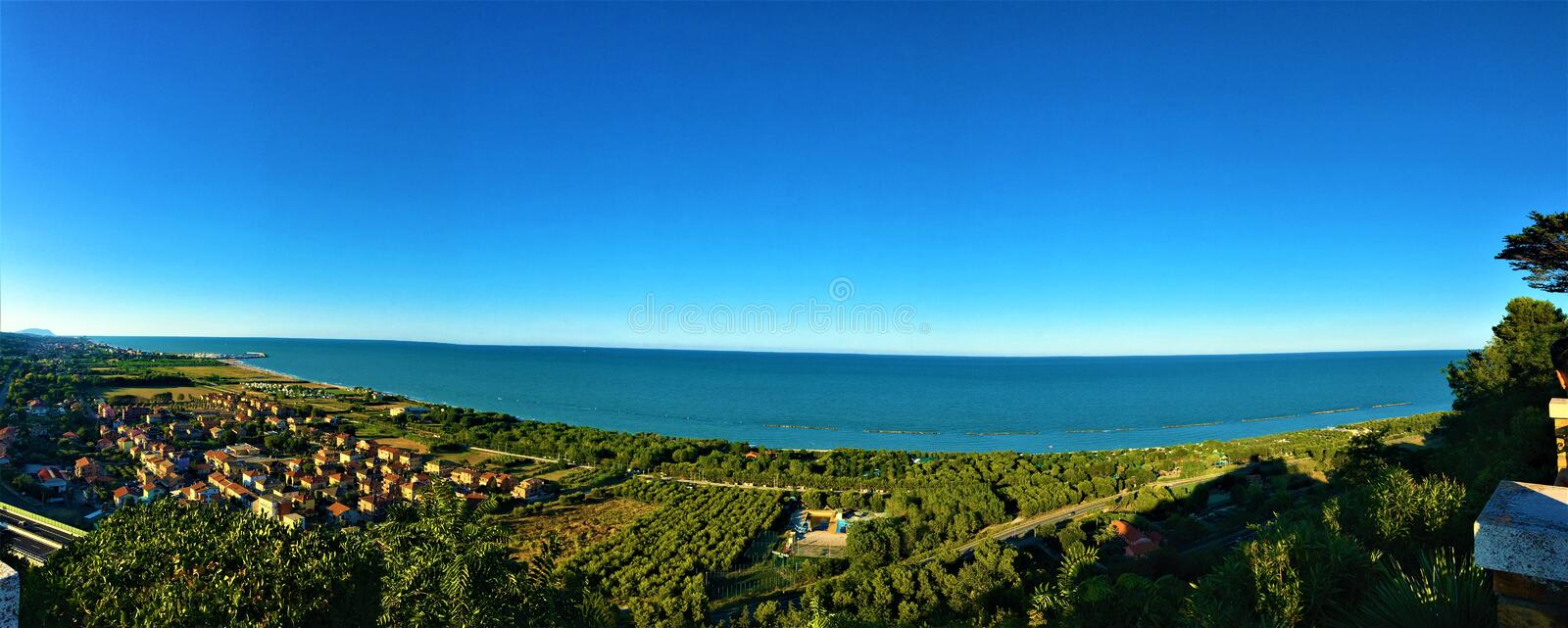 Torre di Palme town in Marche region, Italy. Splendid landscape, view of Adriatic sea royalty free stock photos