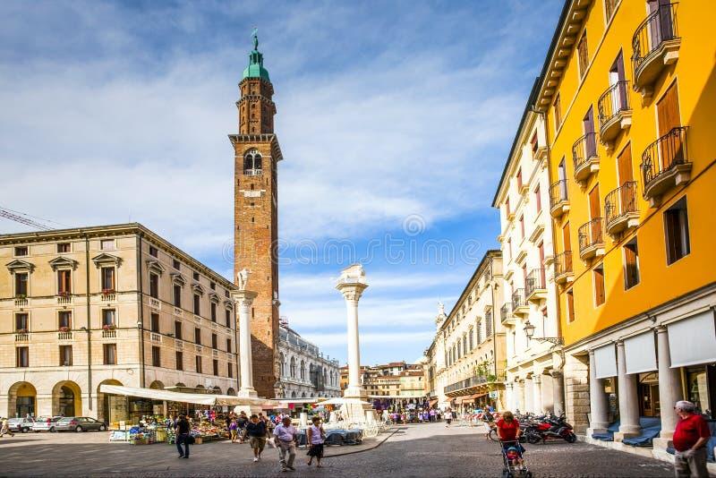 Torre di Piazza al Signor di dei della piazza in Vicenca fotografie stock