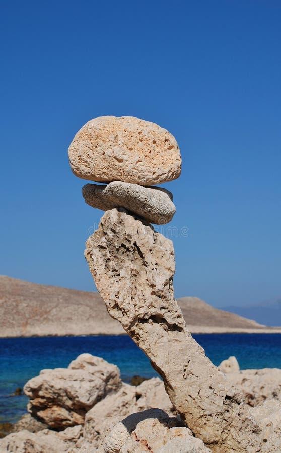 Torre di pietra, isola di Halki fotografia stock