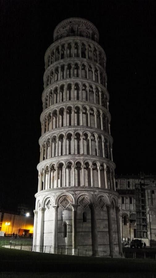 Torre di Pisa della cattedrale di Santa Maria Assunta di notte fotografie stock libere da diritti