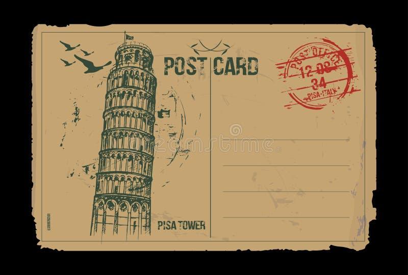 Torre di Pisa Progettazione della cartolina di Toscana, Italia illustrazione di stock