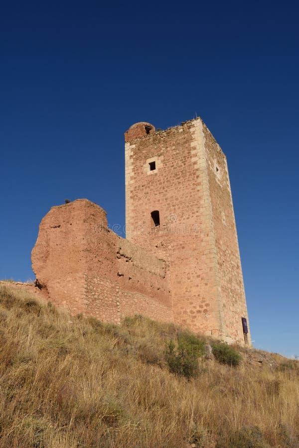 Torre di San Cristobal, pareti, S XIV, Daroca Provin di Saragozza immagine stock libera da diritti