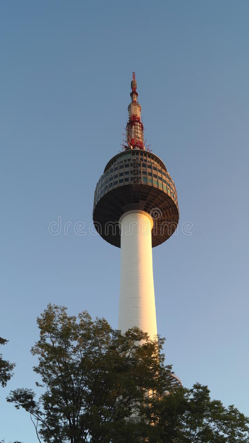 Torre di Seoul dal parco di Namsan fotografia stock