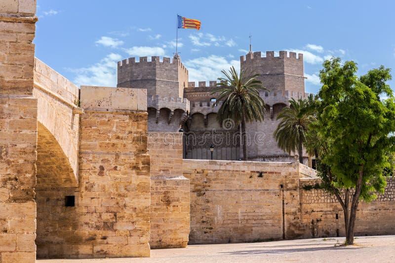 Torre di Serranos a Valencia, Spagna immagini stock libere da diritti