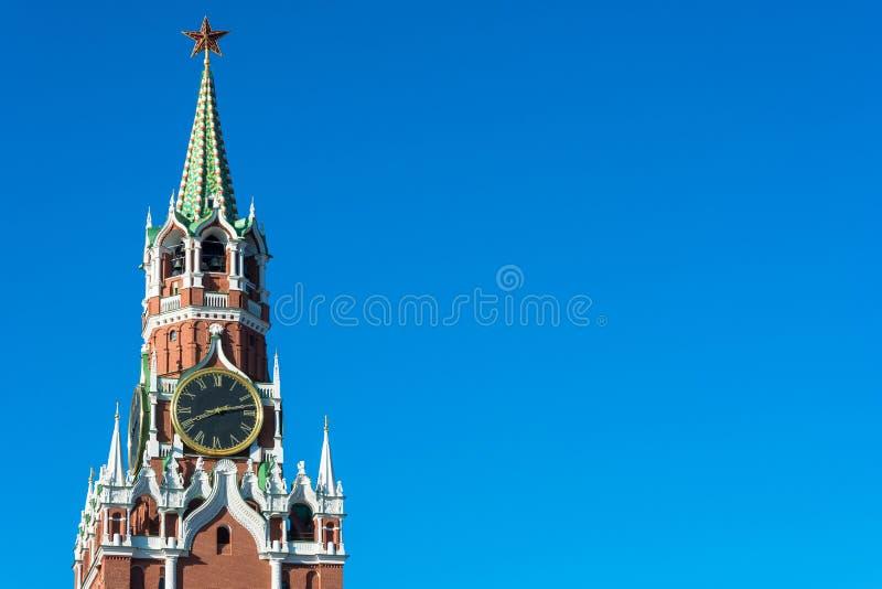 Torre di Spasskaya del Cremlino di Mosca immagine stock libera da diritti