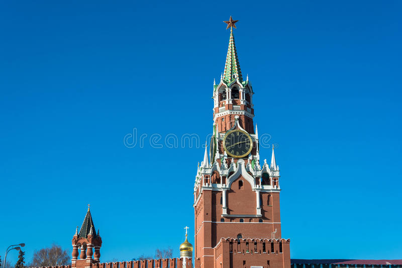 Torre di Spasskaya del Cremlino di Mosca fotografia stock