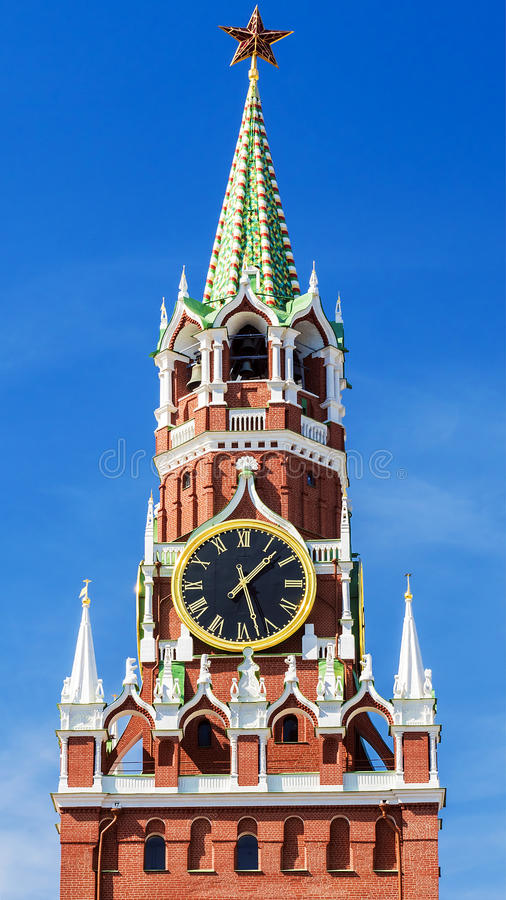 Torre di Spasskaya del Cremlino di Mosca a Mosca fotografia stock libera da diritti