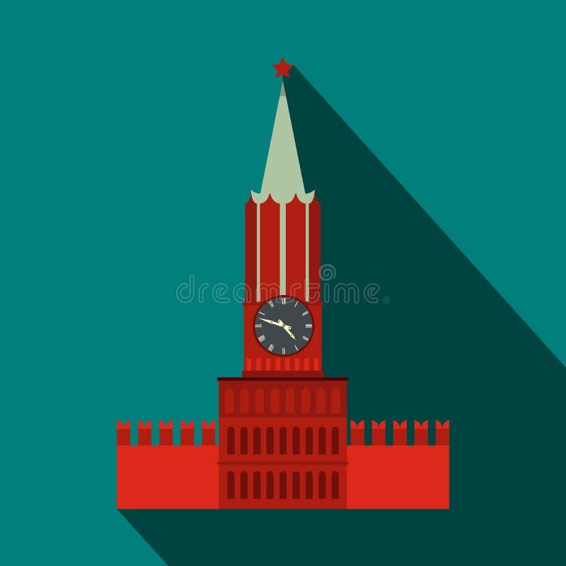 Torre di Spasskaya dell'icona di Cremlino di Mosca, stile piano illustrazione di stock