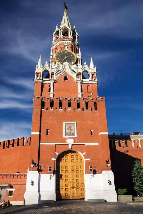 Torre di Spasskaya sul quadrato rosso, Mosca, Russia fotografia stock
