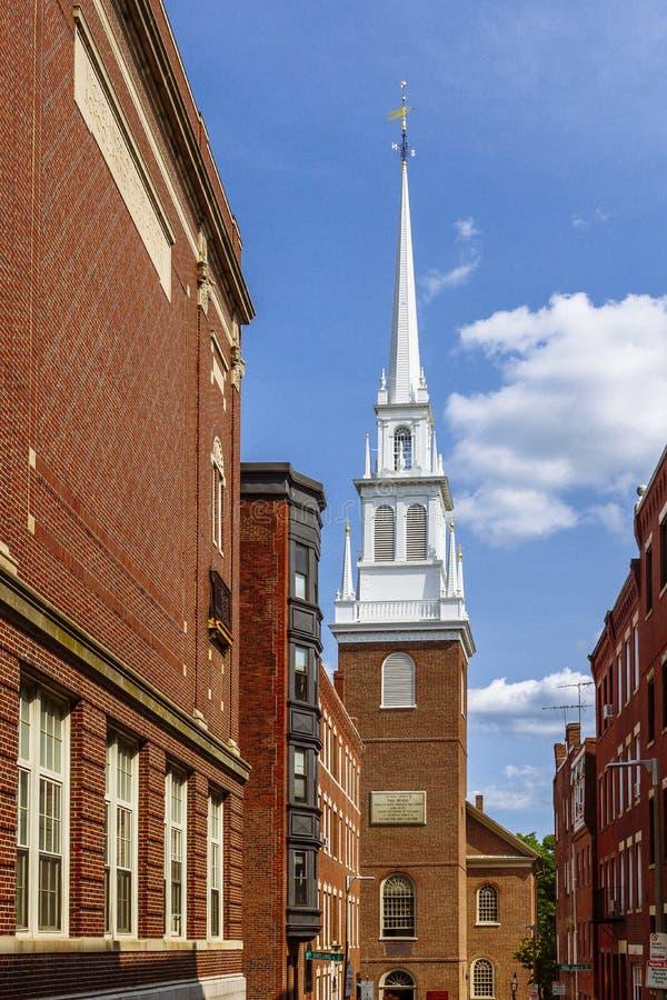 Torre di vecchia chiesa del nord a Boston fotografie stock