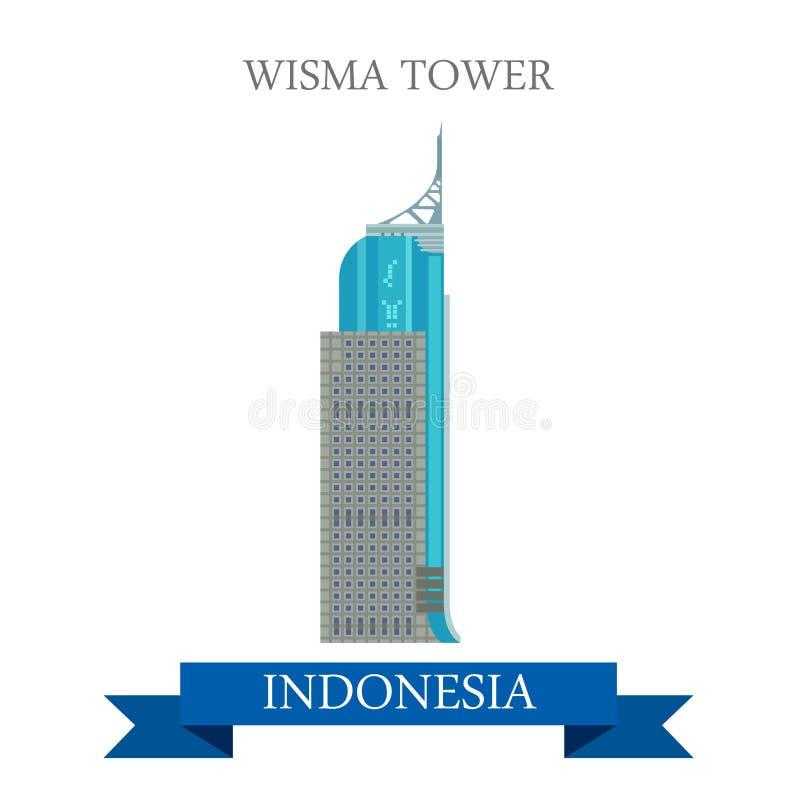 Torre di Wisma a attrazione piana di vettore di Jakarta, Indonesia illustrazione di stock