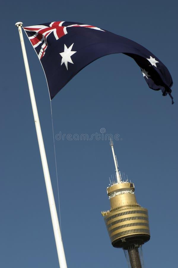 Torre do ampère e bandeira, Sydney imagem de stock