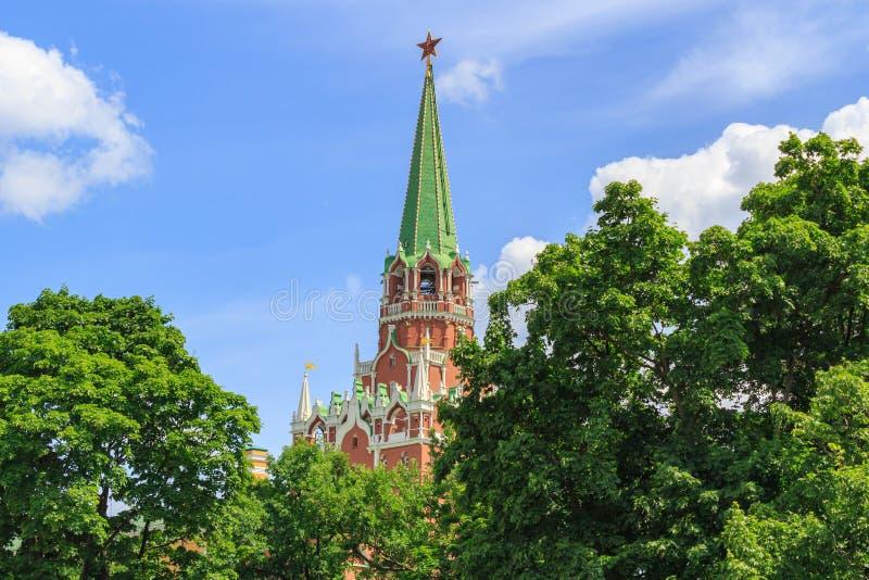 Torre do arsenal do Kremlin de Moscou no árvores verdes e fundo do céu azul no dia de verão ensolarado imagens de stock royalty free