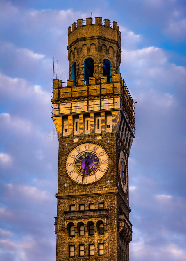 A torre do Bromo-Seltzer em Baltimore do centro, Maryland fotos de stock royalty free