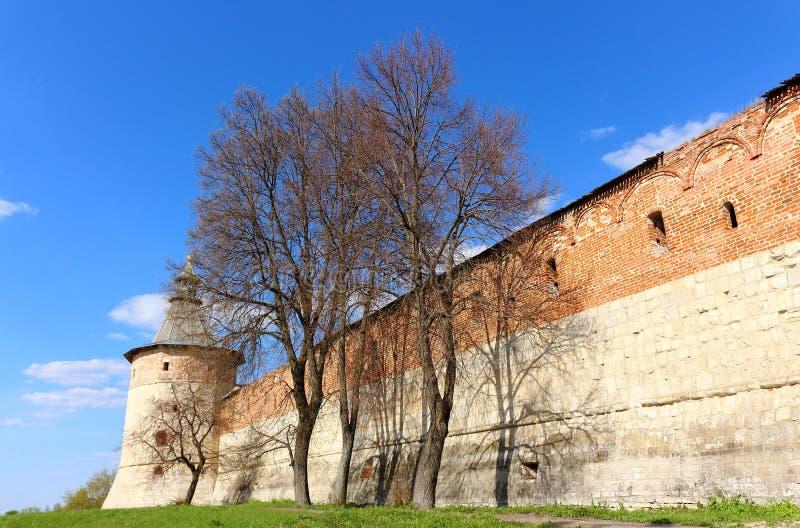 Torre do canto da sentinela no Kremlin medieval de Zaraysk fotos de stock royalty free
