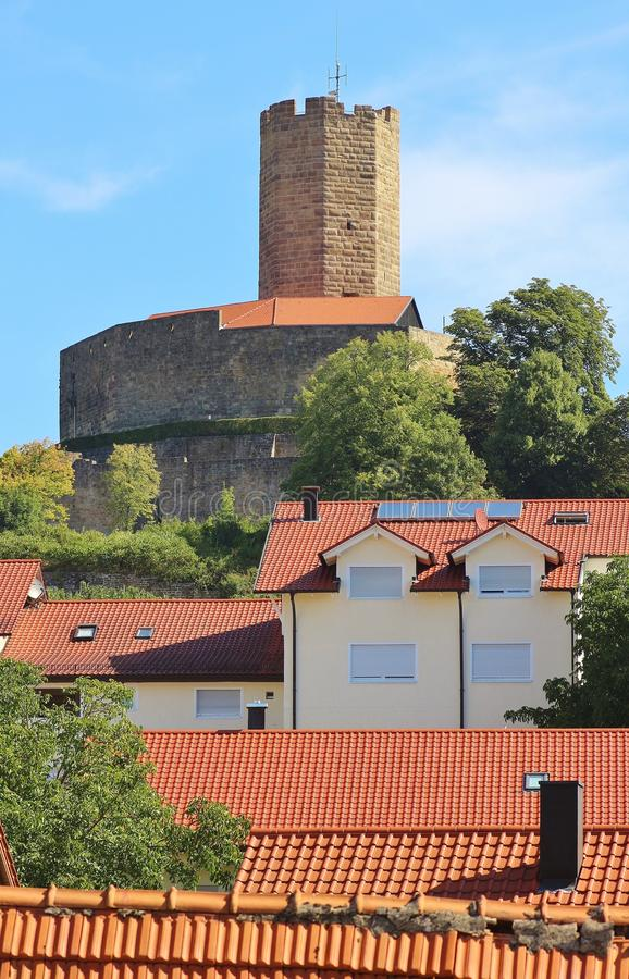 Torre do castelo fortificado medieval Steinsberg, Sinsheim, Alemanha fotografia de stock royalty free