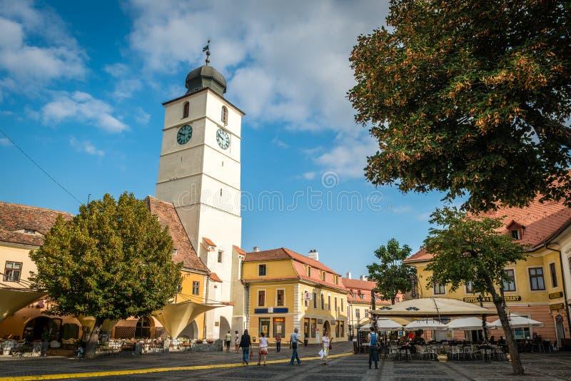 Torre do Conselho em Sibiu, Roménia imagens de stock royalty free
