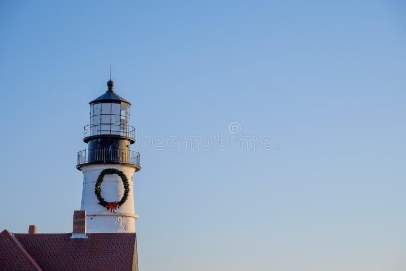 A torre do farol da cabeça de Portland no nascer do sol imagem de stock