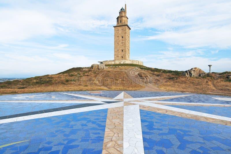 Torre do farol de Hercules, La Coruna, Galiza imagens de stock royalty free