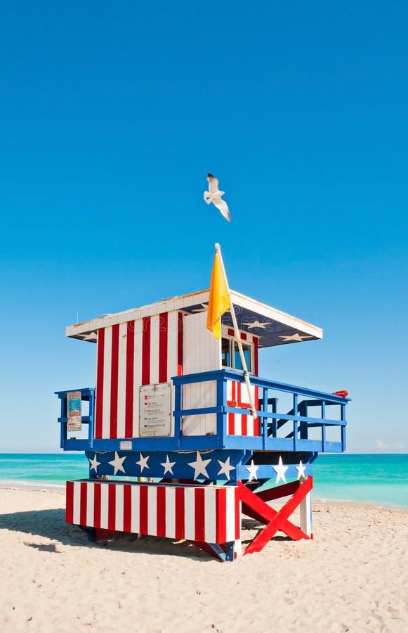 Torre do Lifeguard em Miami Beach, EUA imagens de stock